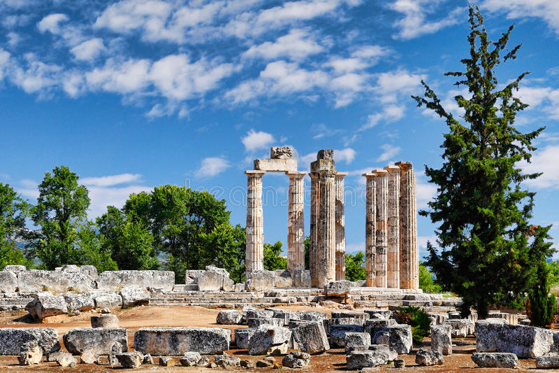 The Temple of Zeus in Nemea, Greece stock images