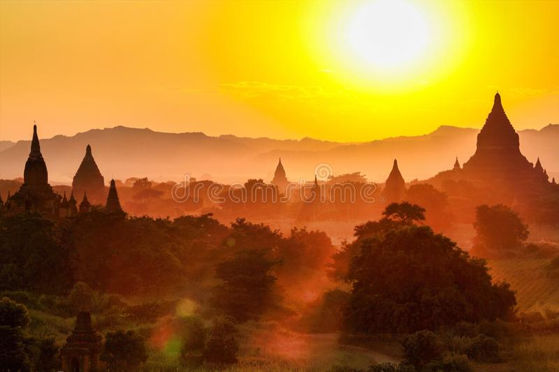 Temples of Bagan in the Mandalay Region of Burma, Myanmar stock photography