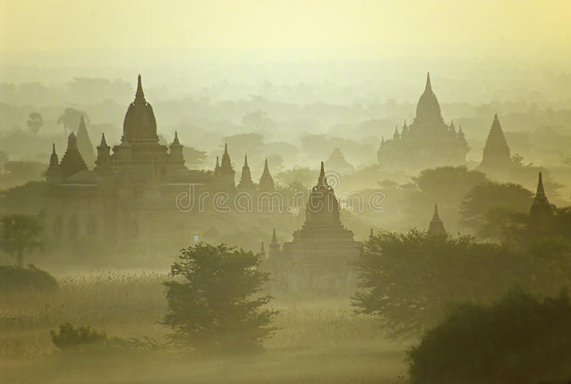 Temples of Bagan in early morning. Myanmar. stock photo