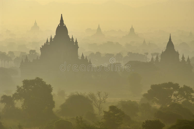 Temples of Bagan in early morning. Myanmar. royalty free stock photos