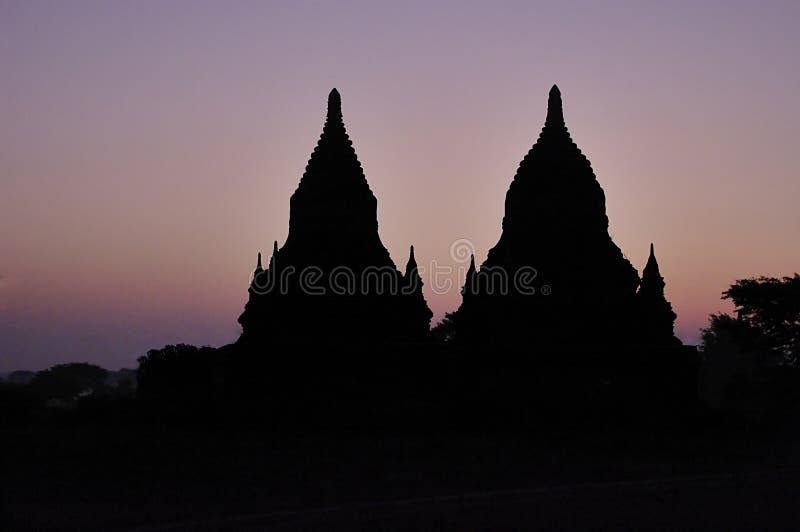 Temples of Bagan at night. Myanmar (Burma). stock images