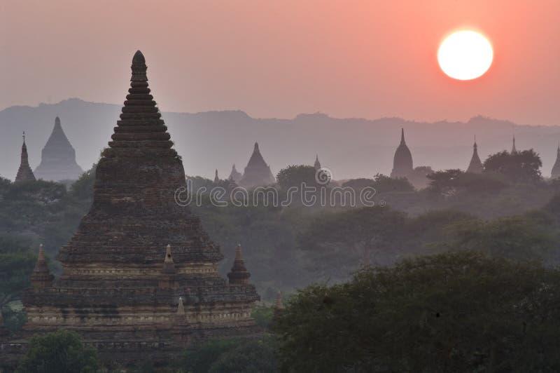 Temples of Bagan at sunset. Myanmar (Burma). stock images