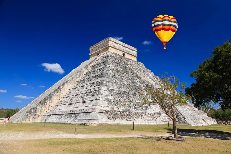 The temples of chichen itza temple in Mexico royalty free stock photo