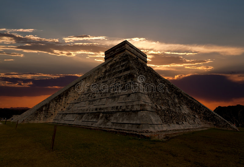 The temples of chichen itza temple in Mexico stock image