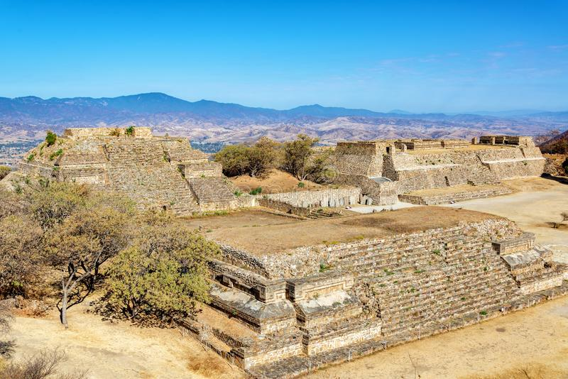 Temples in Monte Alban. Temples in the ancient city of Monte Alban in Oaxaca, Mexico stock photo