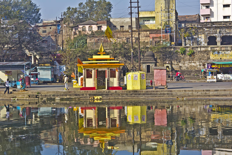 Temples in Nashik. FEB 6, 2015, NASHIK, INDIA - Hindu temples on the ghat on sacred river Godavari royalty free stock images