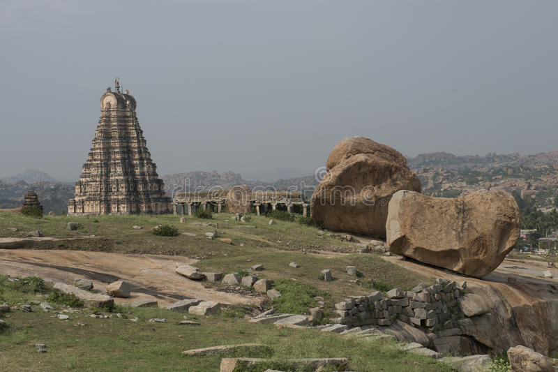 Temples and ruins of Hampi, India stock image