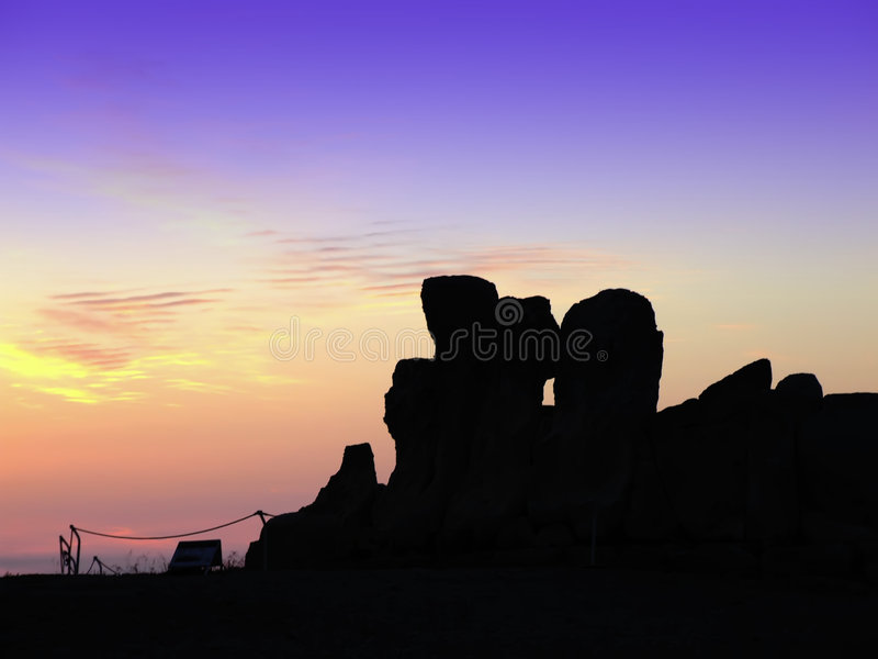 Temples at Sunset. The oldest free-standing building/temple in the world. Oldest neolithic prehistoric temple built thousands of years before the pyramids royalty free stock images