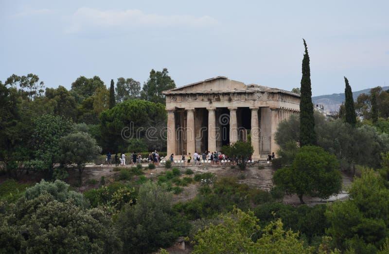 Templet av Hephaestus i marknadsplatsen av Aten royaltyfri fotografi