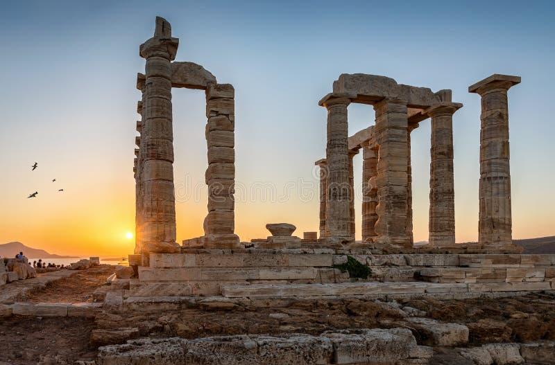 Templet av Poseidon på udde Sounion i Attica, Grekland arkivfoton
