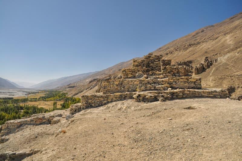 Templet fördärvar i Tadzjikistan arkivbilder