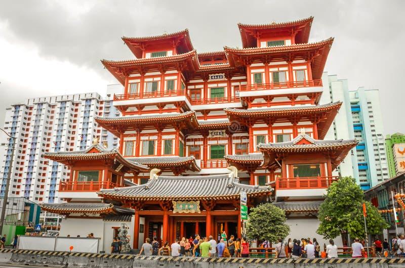 Templet f?r Buddhatandrelik, Singapore arkivbild