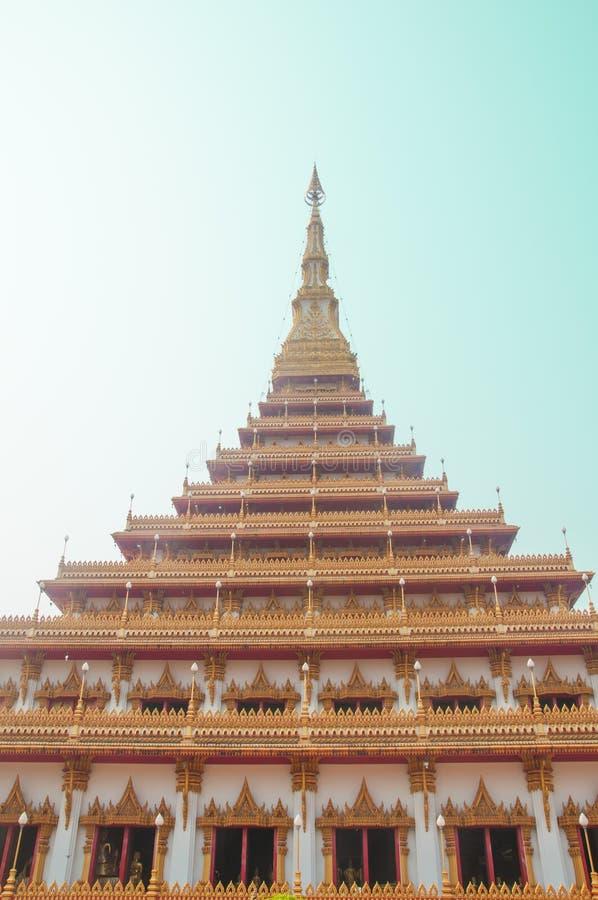 Templet i Thailand namnges Phra-Mahathat-Kaen- Nakhon royaltyfri foto
