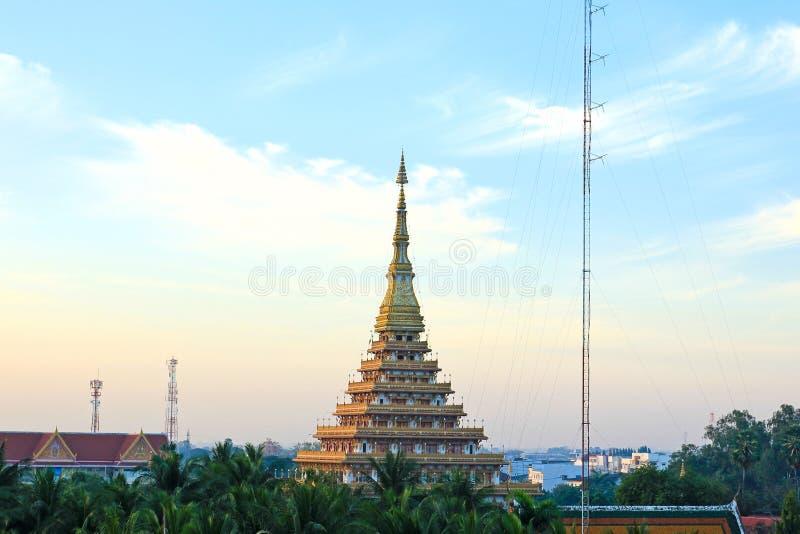 Templet i Thailand namnges Phra-Mahathat-Kaen-Nakhon fotografering för bildbyråer