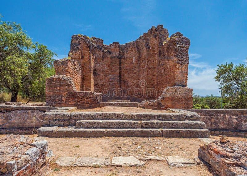 Templet på fördärvar av Milreu, Estoi, Algarve, Portugal royaltyfria foton