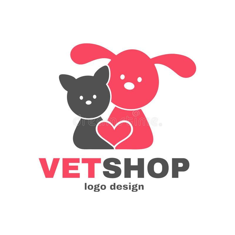 Templete de conception de logo de Vetshop Boutique de vétérinaire, illustration de vecteur