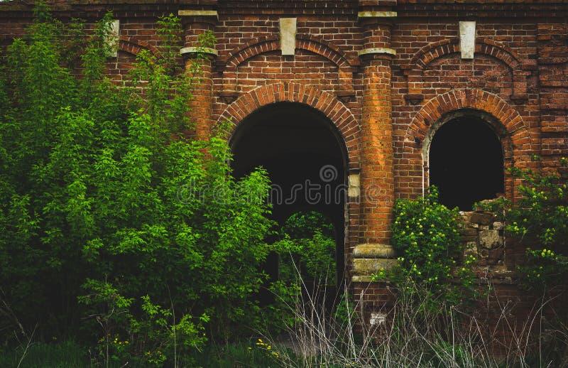 Templo abandonado demasiado grande para su edad con los arbustos, entrada al templo fotos de archivo
