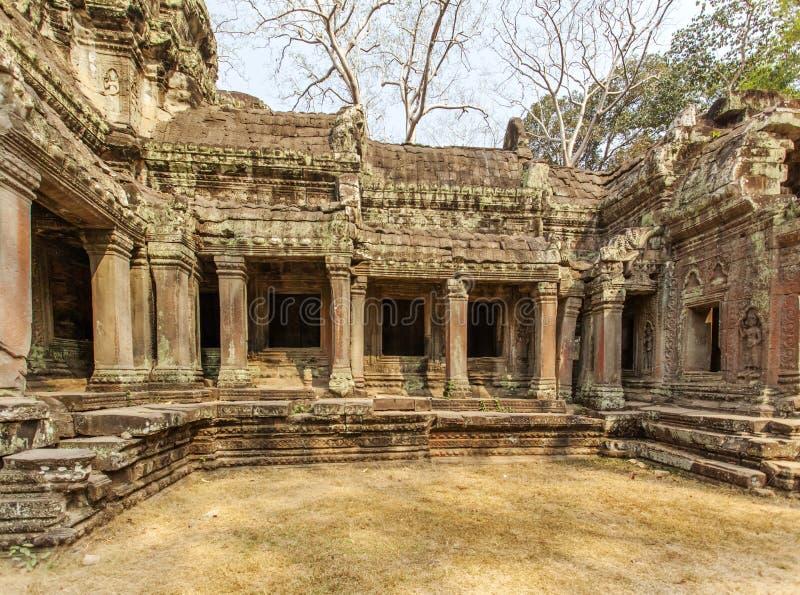 Templo antigo de Ta Prohm, Angkor Thom, Siem Reap, Camboja fotografia de stock