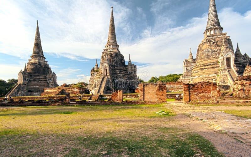 Templo antiguo en Ayutthaya Tailandia, saphet del si del phra del wat foto de archivo libre de regalías