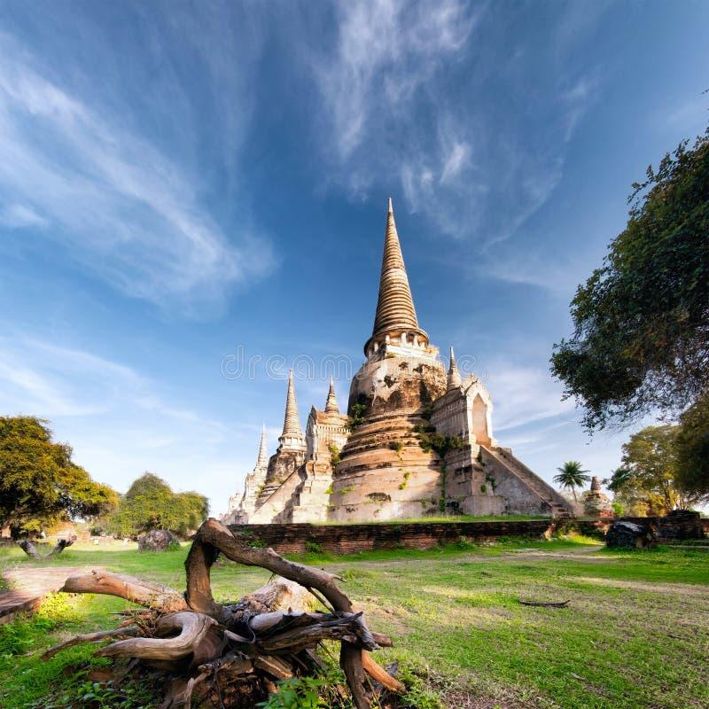 Templo antiguo en Ayutthaya Tailandia, saphet del si del phra del wat imagen de archivo libre de regalías