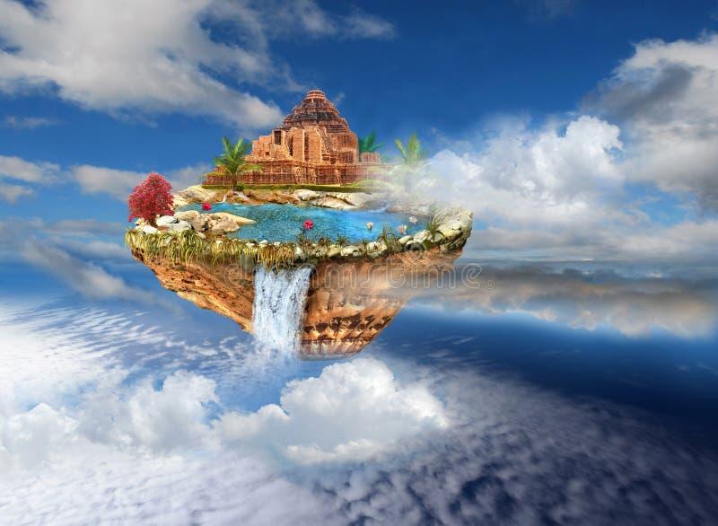 Templo antiguo en la isla del vuelo en cielo ilustración del vector