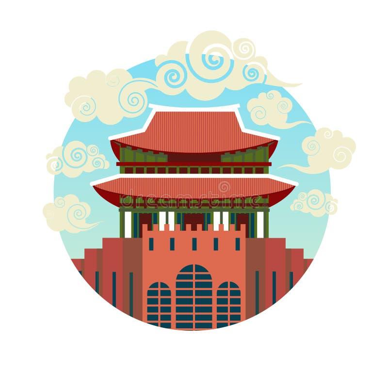 Templo asiático tradicional del icono de la señal de Corea aislado en el fondo blanco stock de ilustración