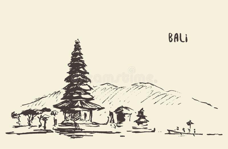 Templo Bali Indonésia de Pura Ulun Danu Bratan Hindu ilustração royalty free