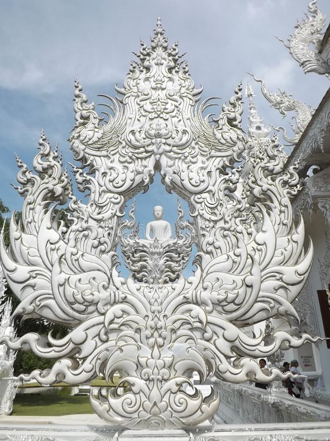 Templo branco, Chiang Rai, Tailândia fotos de stock royalty free