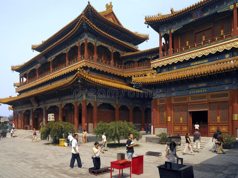 Templo budista de Yonghe - Pequim - China fotografia de stock