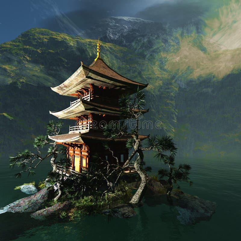 Templo budista en montañas ilustración del vector