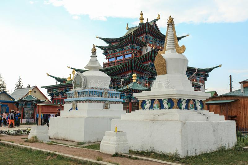 Templo budista Ivolginsky Datsan, república de Buriácia, Rússia imagens de stock