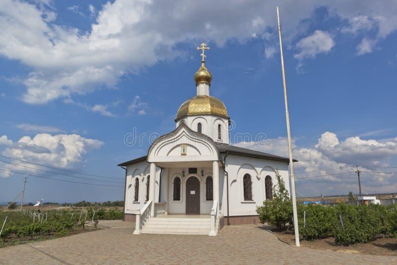 Templo-capela de Fedor Ushakov no distrito de Taman Temryuk da região de Krasnodar imagens de stock