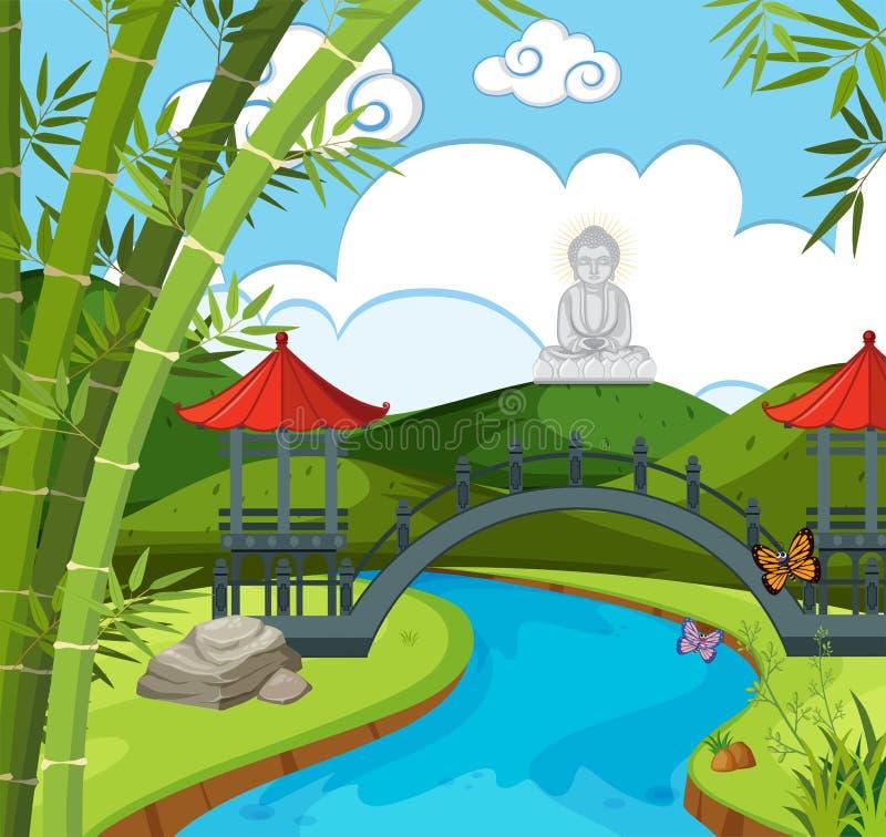 Templo chino con el río y la figura de Buda libre illustration