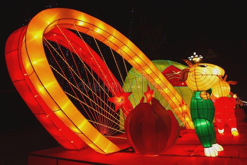 Templo chino del Año Nuevo justo en Panjin imagen de archivo