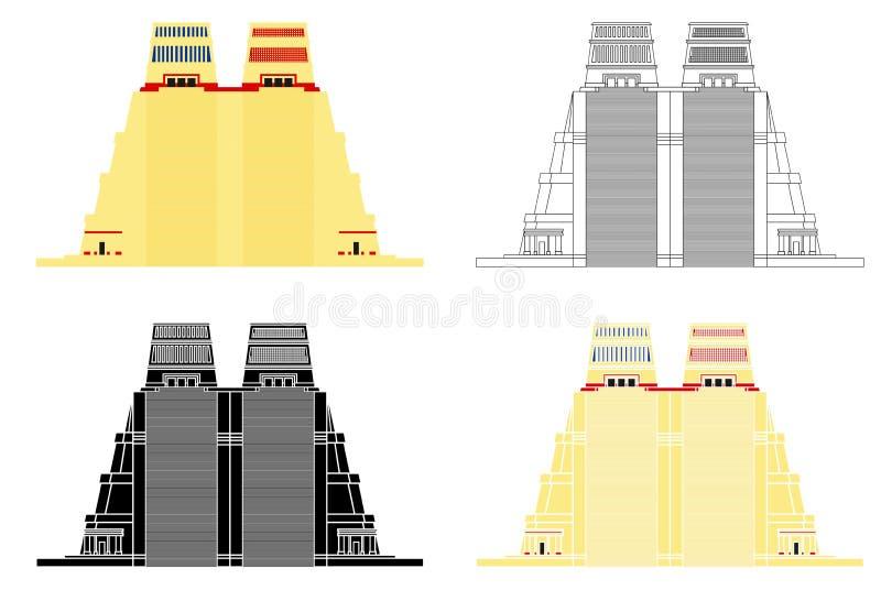 Templo de Alcalde Aztec en primera vista stock de ilustración