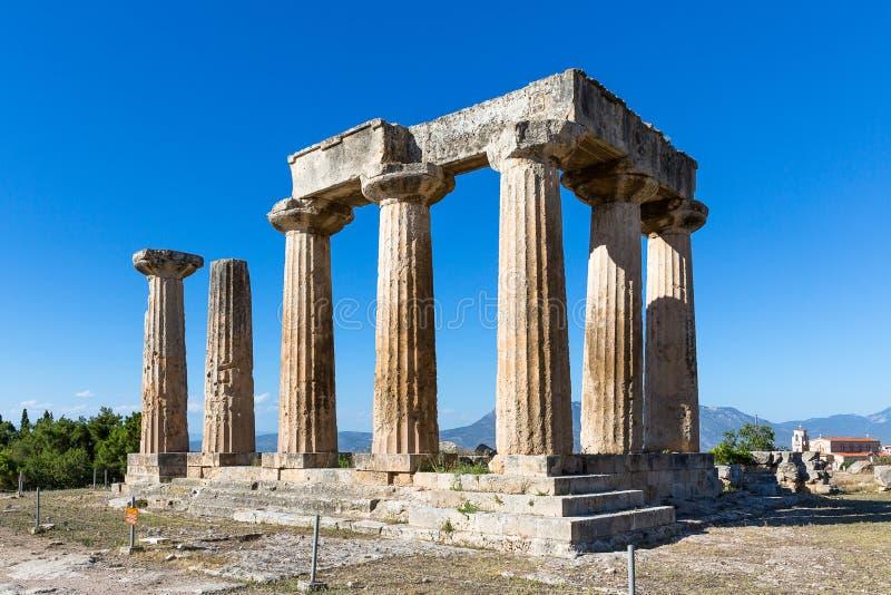 Templo de Apollo, Corinth antigo, Grécia, Europa fotos de stock