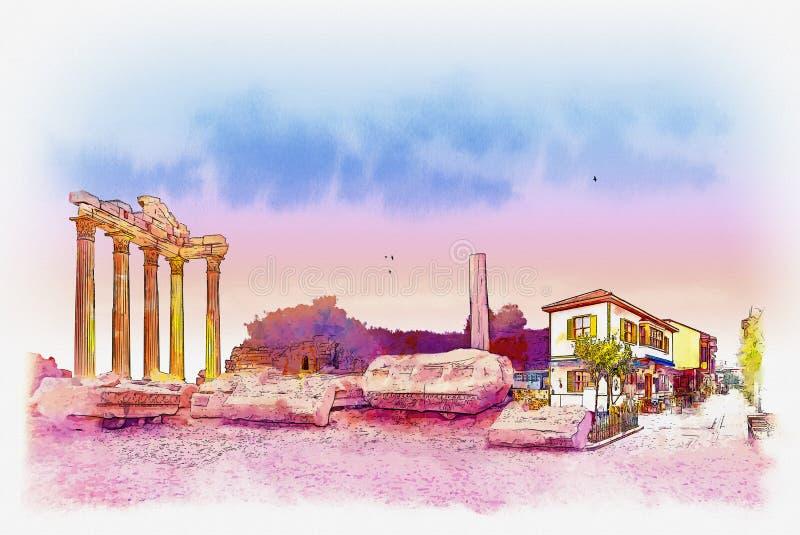 Templo de Apollo na cidade lateral da província de Antalya, Turquia Esboço da aquarela ilustração do vetor