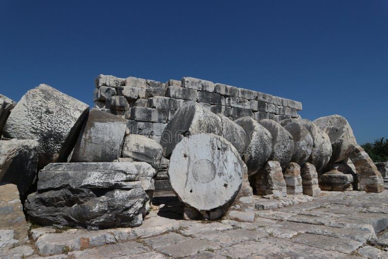 Templo de Apolo en Didim Turquía fotos de archivo