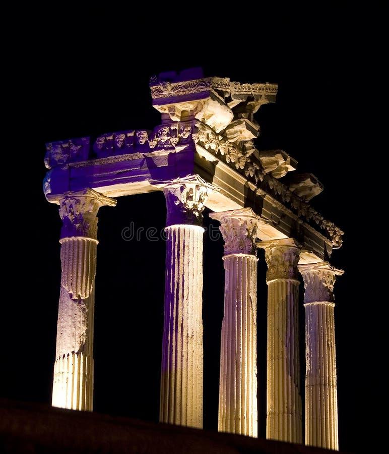 Templo de Apolo en la noche, cara, Turquía fotografía de archivo