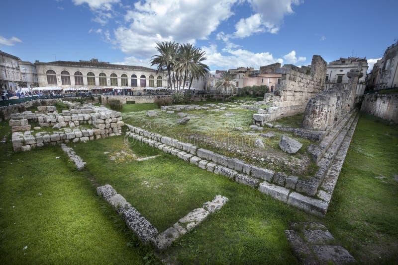 Templo de Apolo (Syracuse) fotografía de archivo