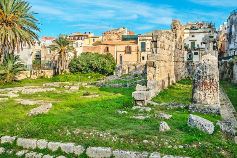 Templo de Apolo Syracuse, Sicilia, Italia fotografía de archivo