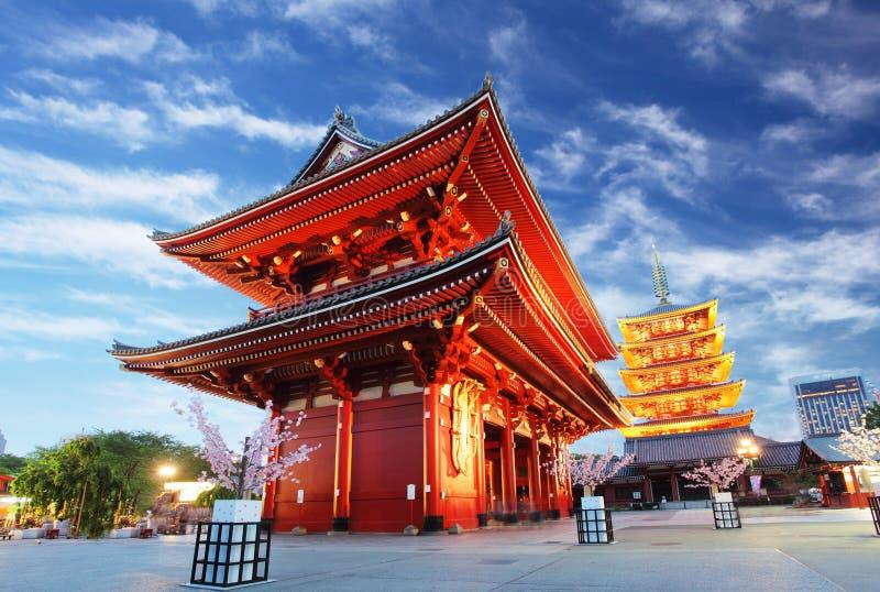 Templo de Asakusa com o pagode na noite, Tóquio, Japão fotos de stock