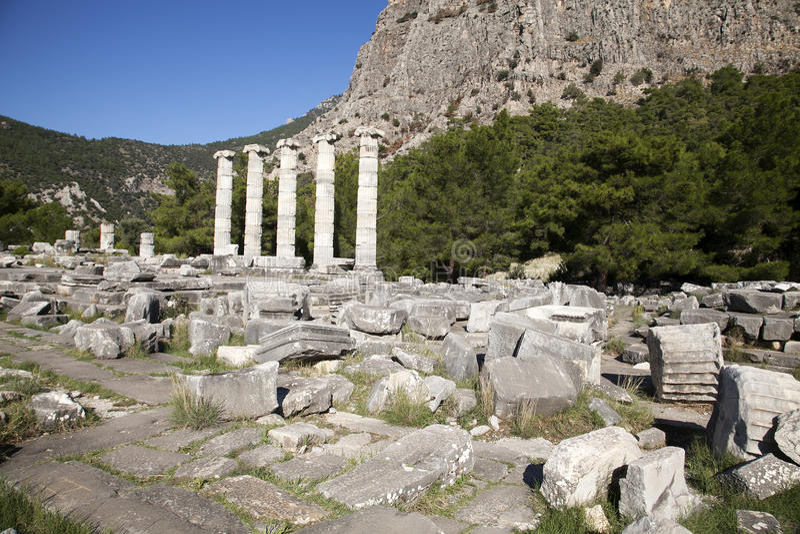 Templo de Athena em Priene, Turquia fotos de stock