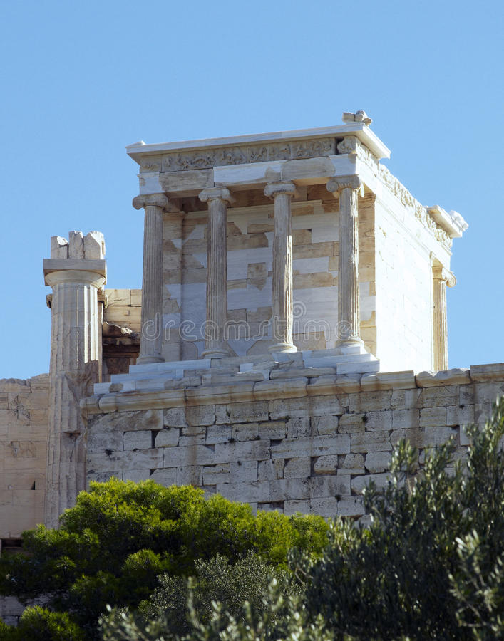 Templo de Athena Nike, Acropolis de Atenas fotografia de stock
