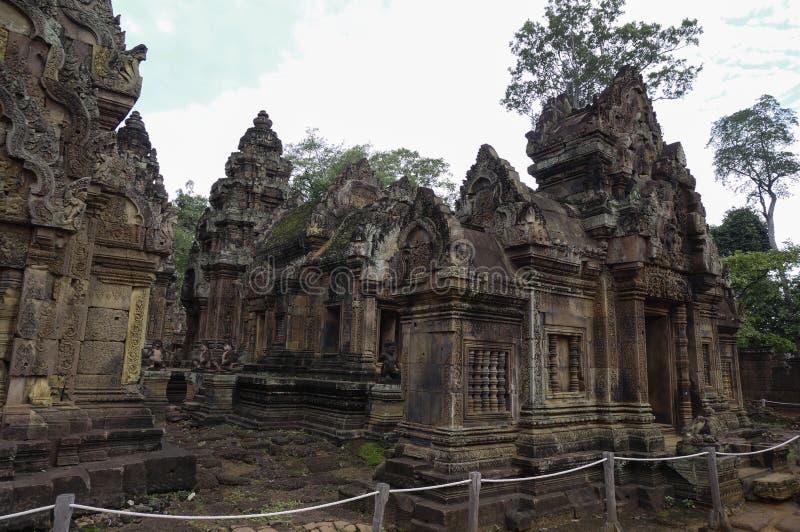 Templo de BANTEAY SREI, extensamente siendo elogiado como un ` precioso de la gema del `, o la joya del ` del arte del Khmer ` imágenes de archivo libres de regalías