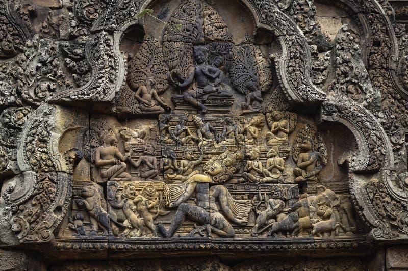 Templo de BANTEAY SREI, extensamente siendo elogiado como un ` precioso de la gema del `, o la joya del ` del arte del Khmer ` fotos de archivo
