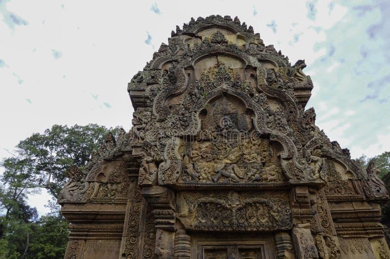 Templo de BANTEAY SREI, extensamente siendo elogiado como un ` precioso de la gema del `, o la joya del ` del arte del Khmer ` foto de archivo libre de regalías