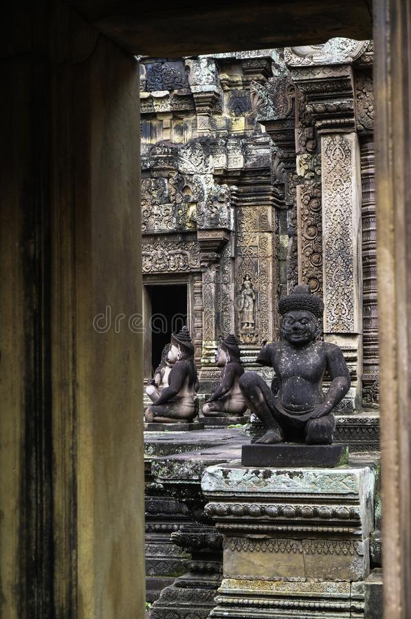 Templo de BANTEAY SREI, extensamente siendo elogiado como un ` precioso de la gema del `, o la joya del ` del arte del Khmer ` imagen de archivo libre de regalías