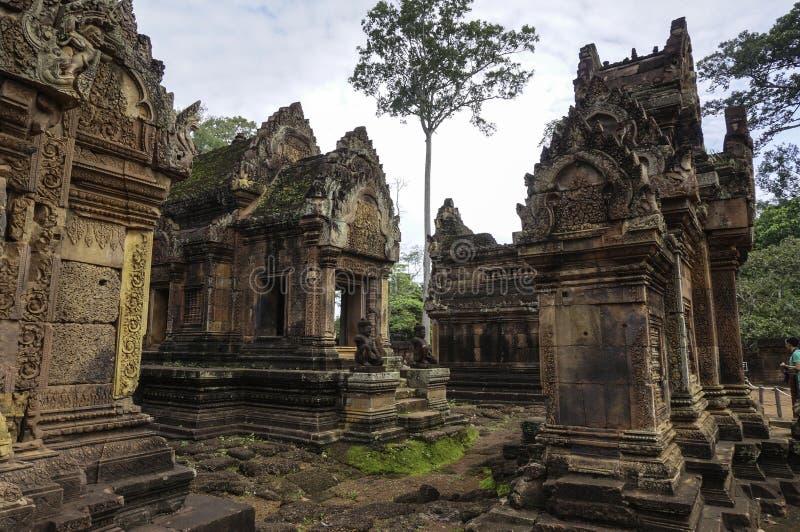 Templo de BANTEAY SREI, extensamente siendo elogiado como un ` precioso de la gema del `, o la joya del ` del arte del Khmer ` fotos de archivo libres de regalías