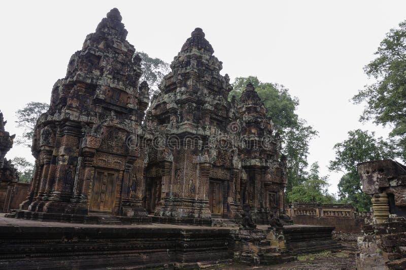 Templo de BANTEAY SREI, extensamente siendo elogiado como un ` precioso de la gema del `, o la joya del ` del arte del Khmer ` imagenes de archivo